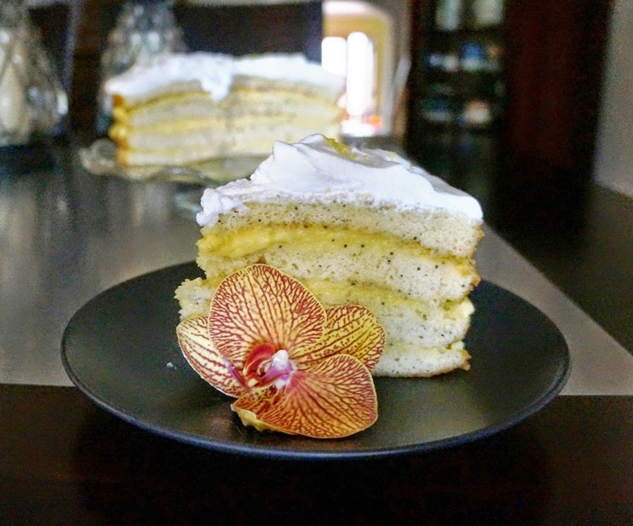 Lemon Poppyseed Cake with Champagne Cream