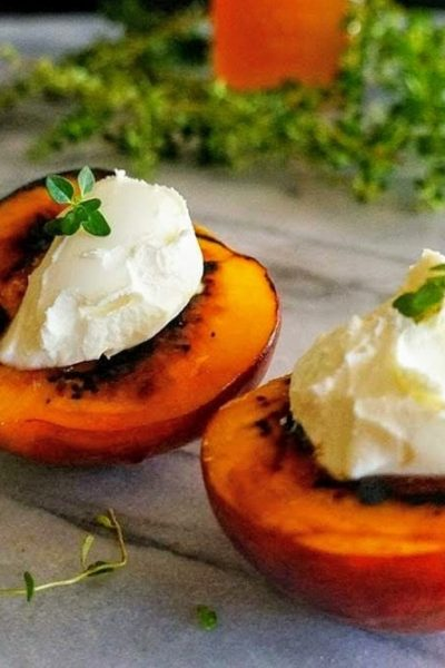 Torched Peaches with Mascarpone and Avocado Honey