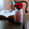 rose milk tea boba