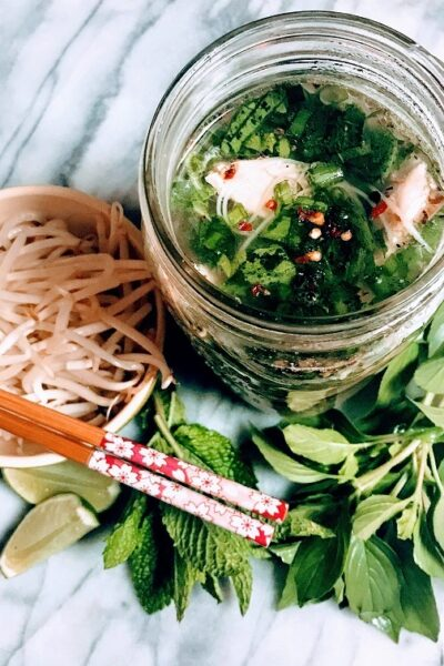 Chicken Pho with Shallot Chutney